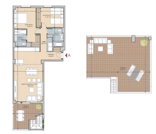 Exempel planlösning: Lägenhet med terrass och takterrass. Boyta om 76,09 kvm
