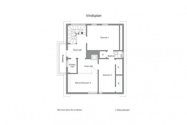 Planskiss övre plan - idag 2 st sovrum men kan enkelt bli 3 st