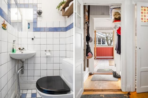 """Liten toalett på nedre plan samt gamla hallen döpt till """"VF""""= Vindfång"""