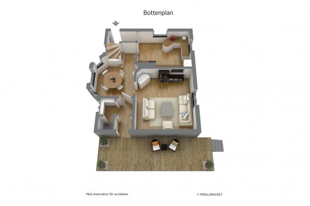 Planskiss entreplan 3D möblerad