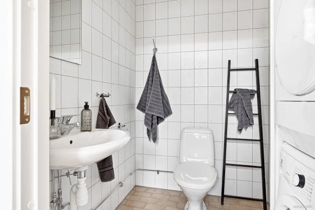 Badrum med dusch och tvättpelare på entréplan