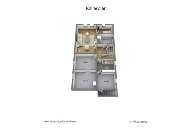 Planlösning källarplan 3D
