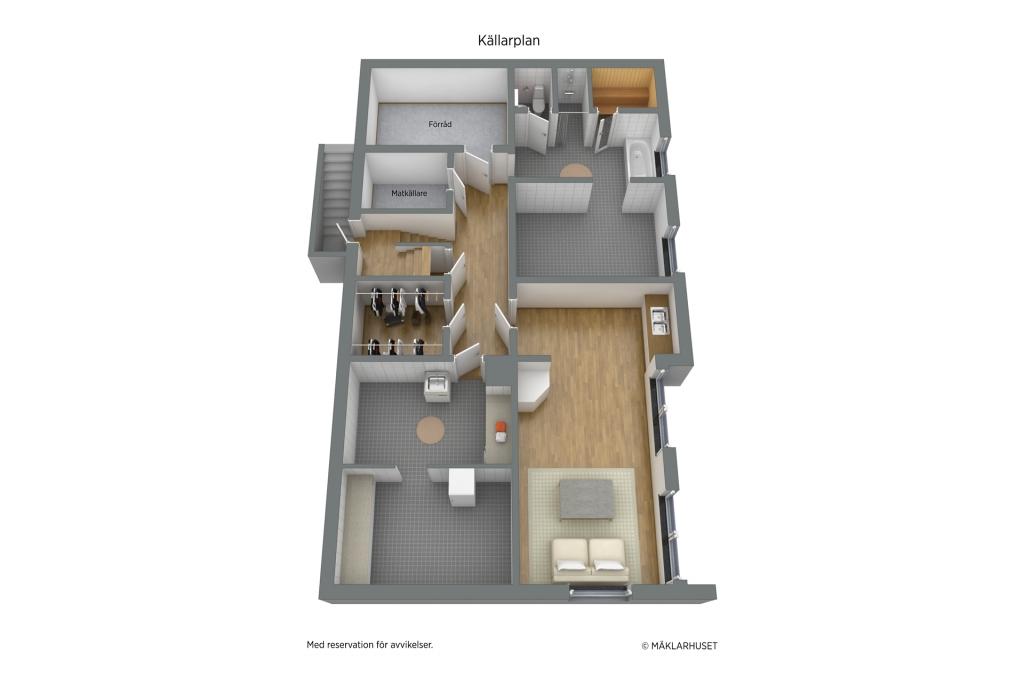 Planlösning 3D, möblerad