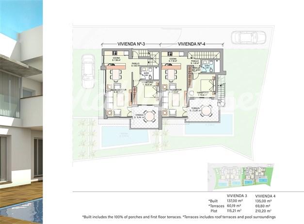 Illustration - Övre plan hus 3 och 4