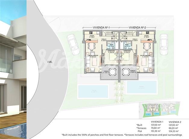 Illustration - Övre plan hus 1 och 2