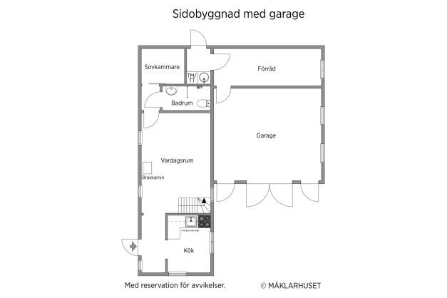 Sidobyggnad med garage