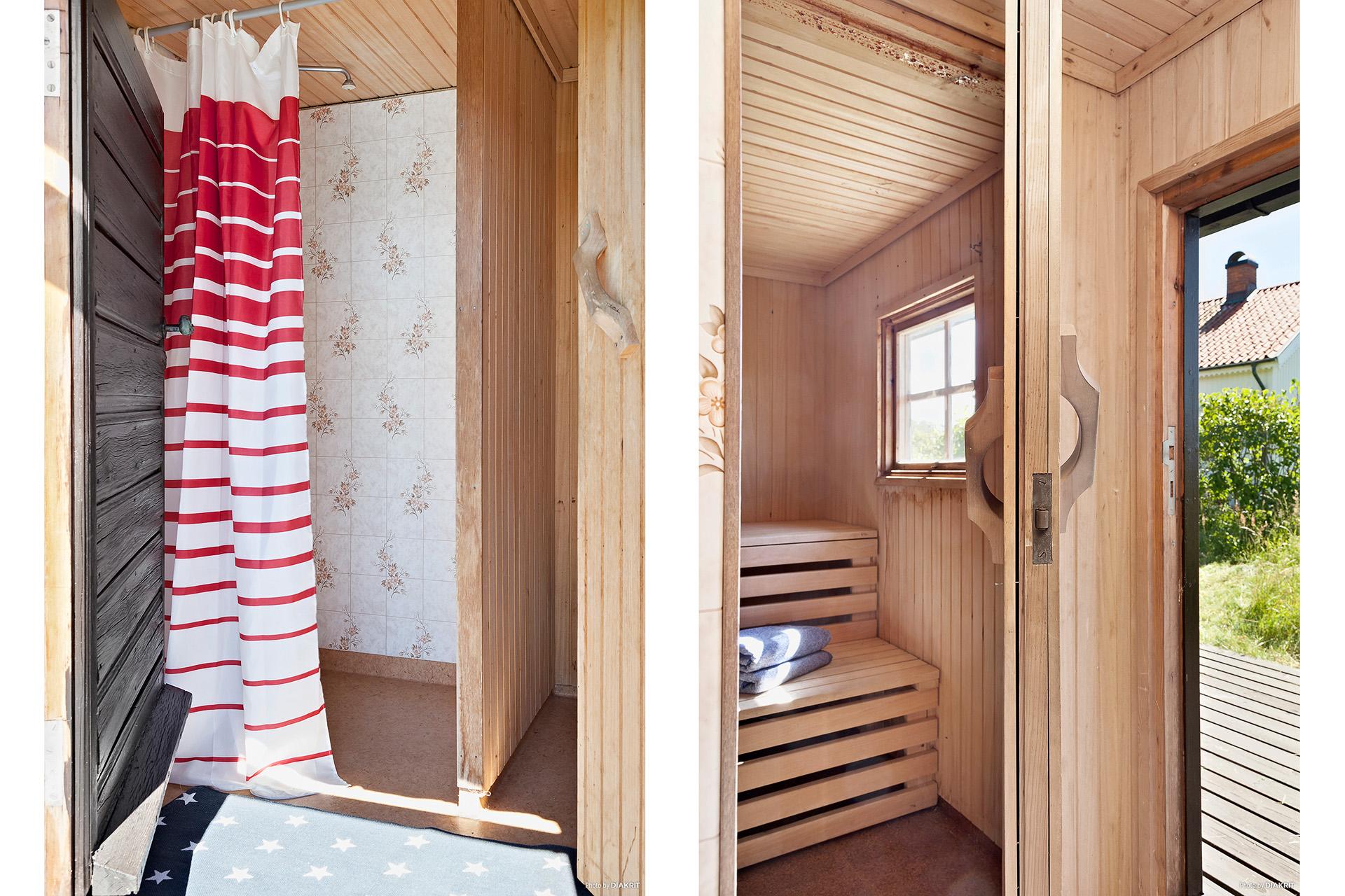 Dusch och bastu i gästhuset