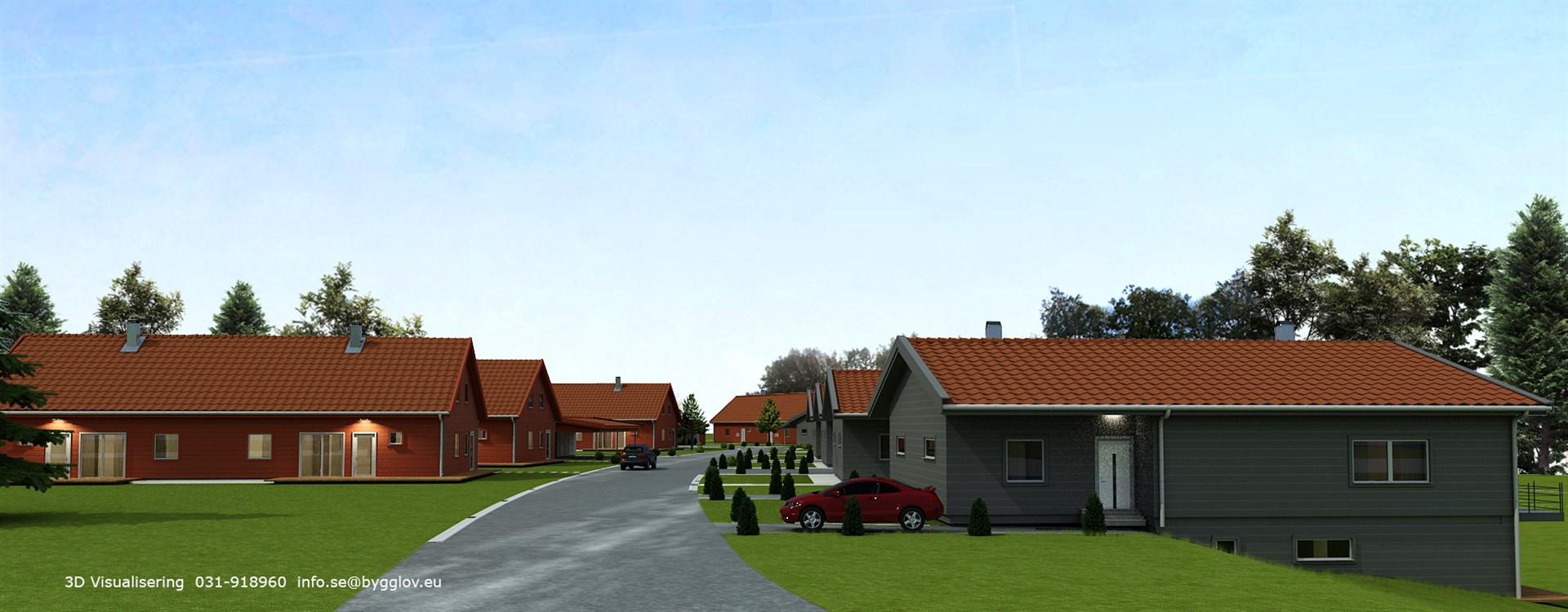 Till vänster Bingevägen 1A (hustyp 86), till höger Bingevägen 2A.(Hustyp 123)