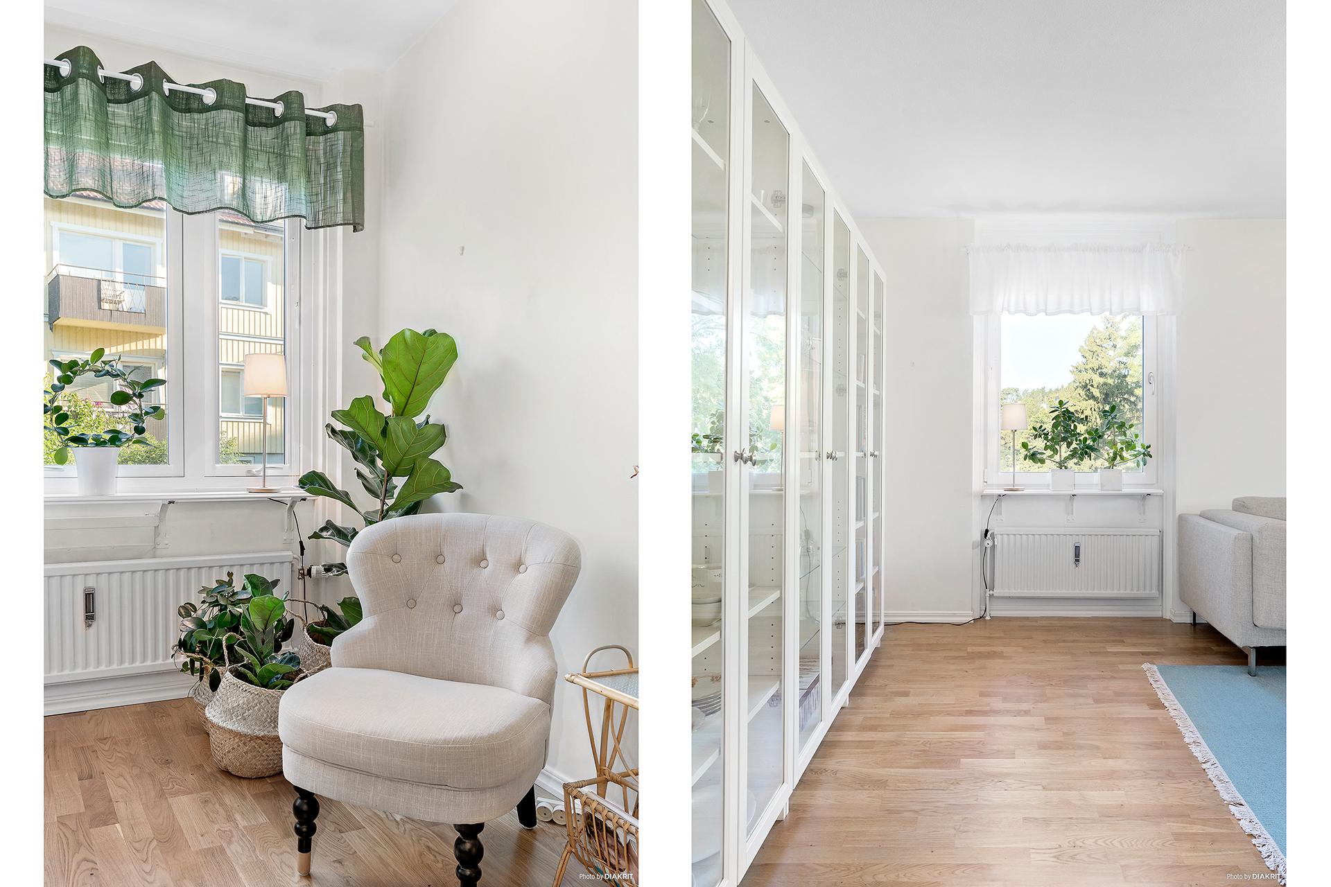 Bostaden är en gavellägenhet och vardagsrummet har fönster i två väderstreck