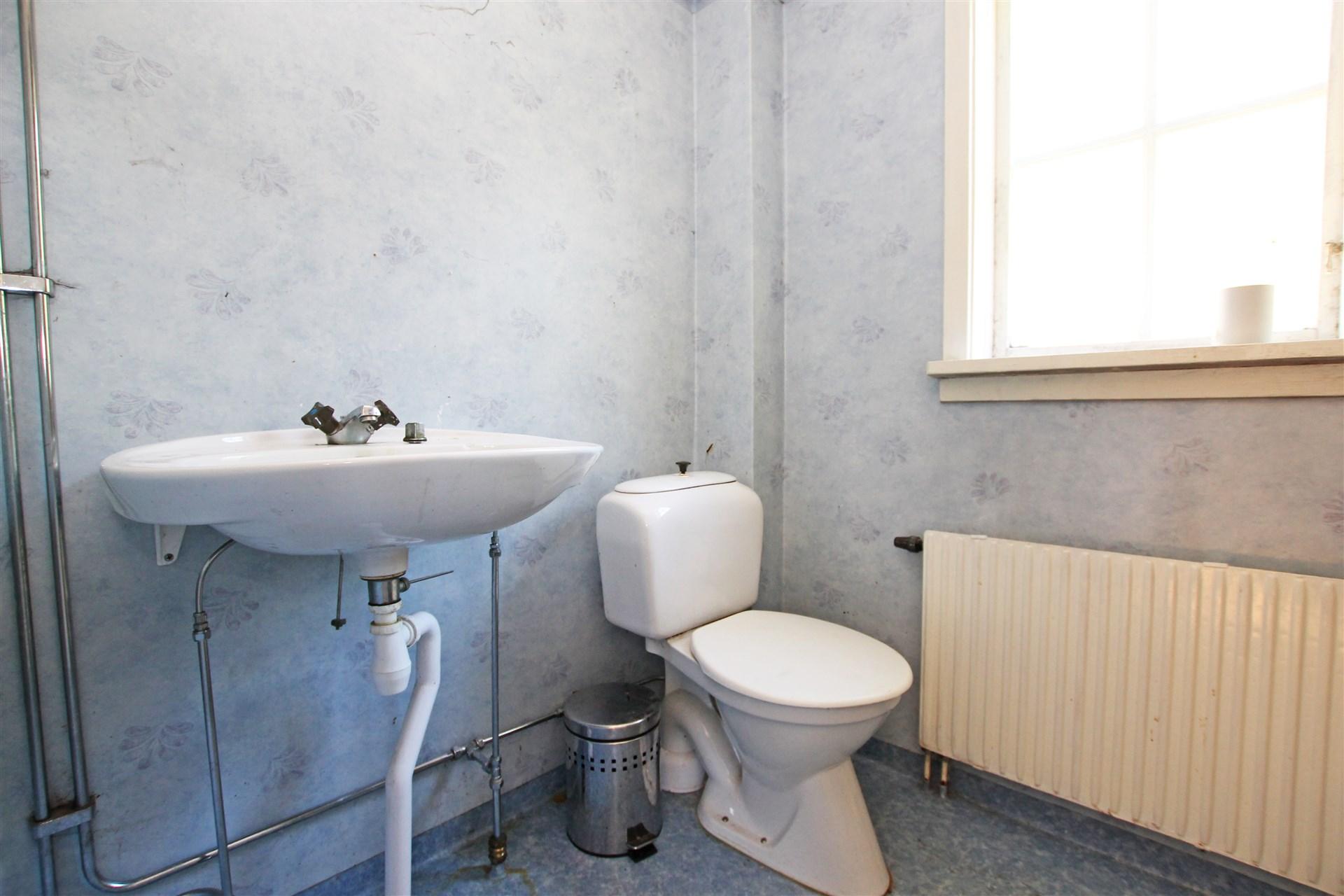 Duschrum med toalett och tvättställ