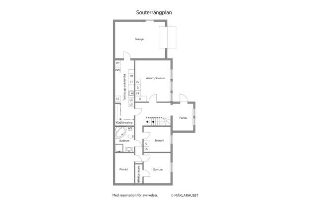 Souterränplan med garage