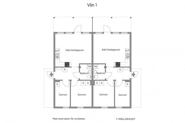Interiörbilderna visar den vänstra lägenheten på våning 1 (markplan).