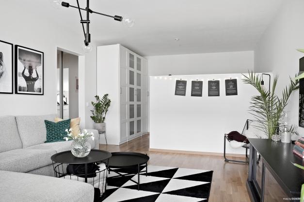 Smart avdelat vardagsrum.