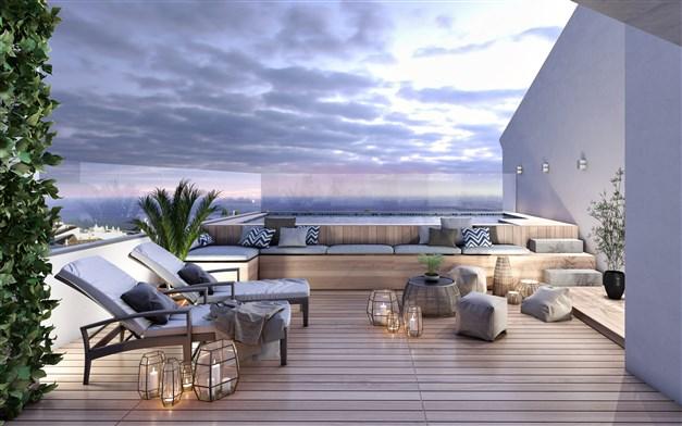 Illustrationsbild - gemensam takterrass med pool
