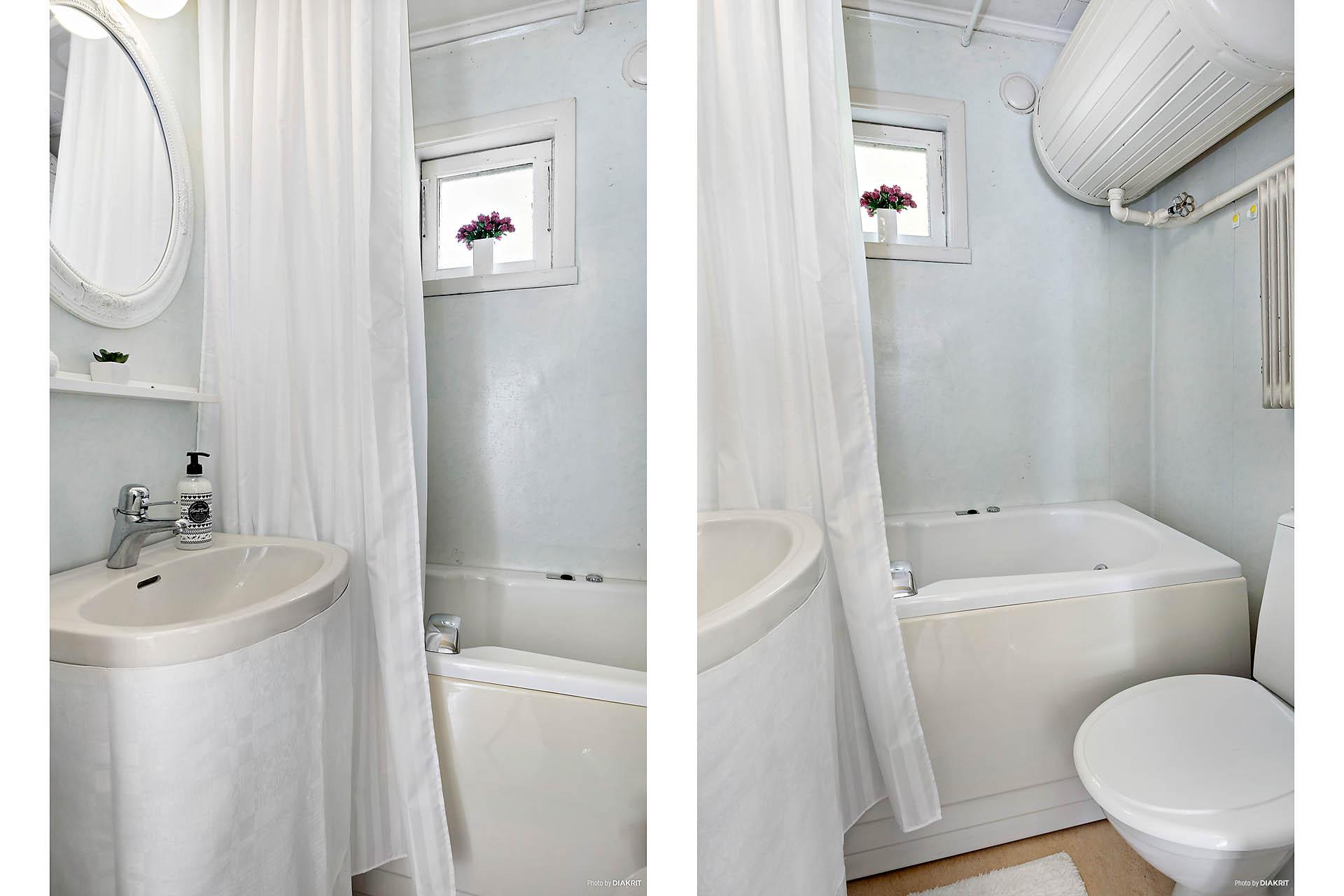 Badrum med Gustavsbergs badkar med (ej inkopplad) jaccuzzifunktioner
