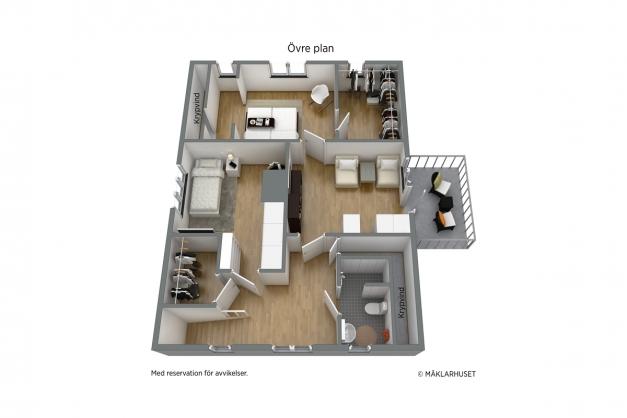 Befintlig 3D planritning övre plan