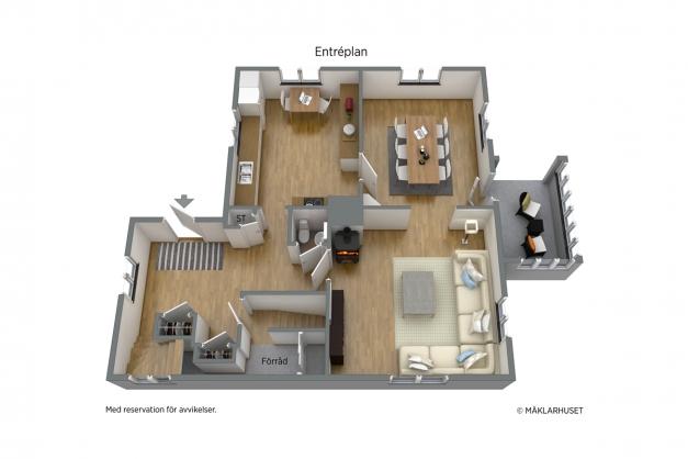 Entréplan 3D planritning