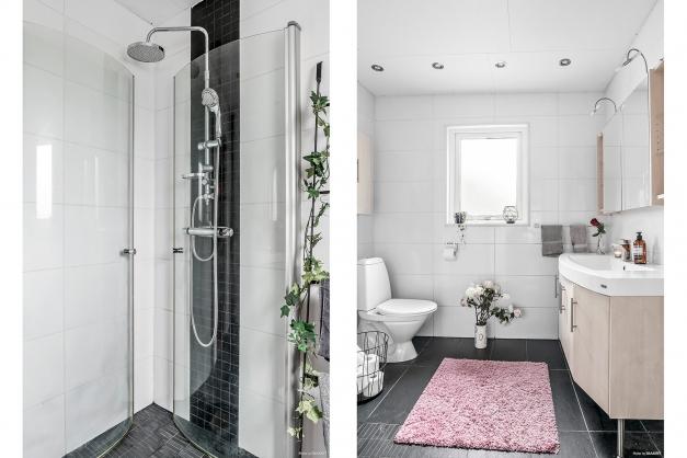 Helkaklat badrum med spotlights i taket, kommod och spegelskåp med bra förvaring