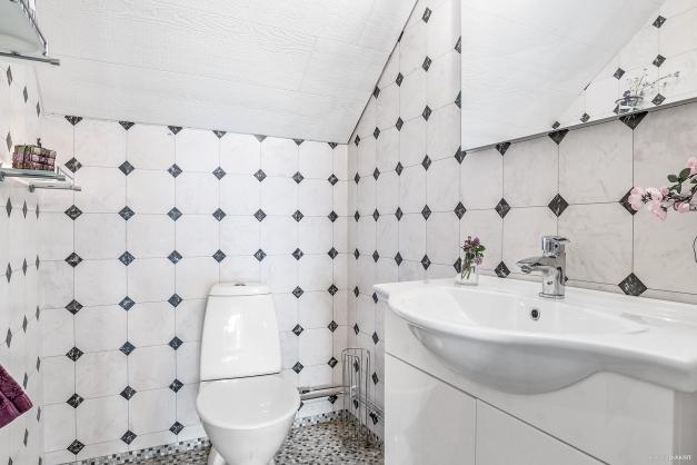 Toalett och tvättställ på övre plan