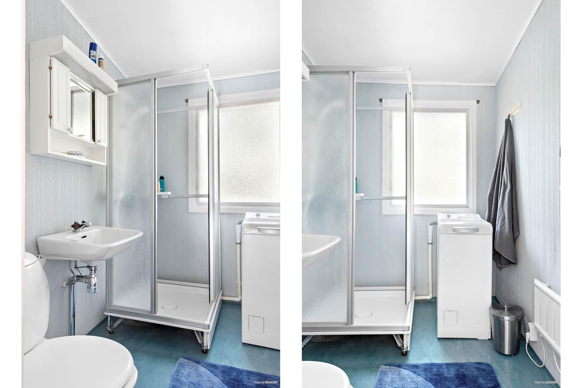 Badrummet har duschkabin och toppmatad tvättmaskin. Fräscht och välskött.