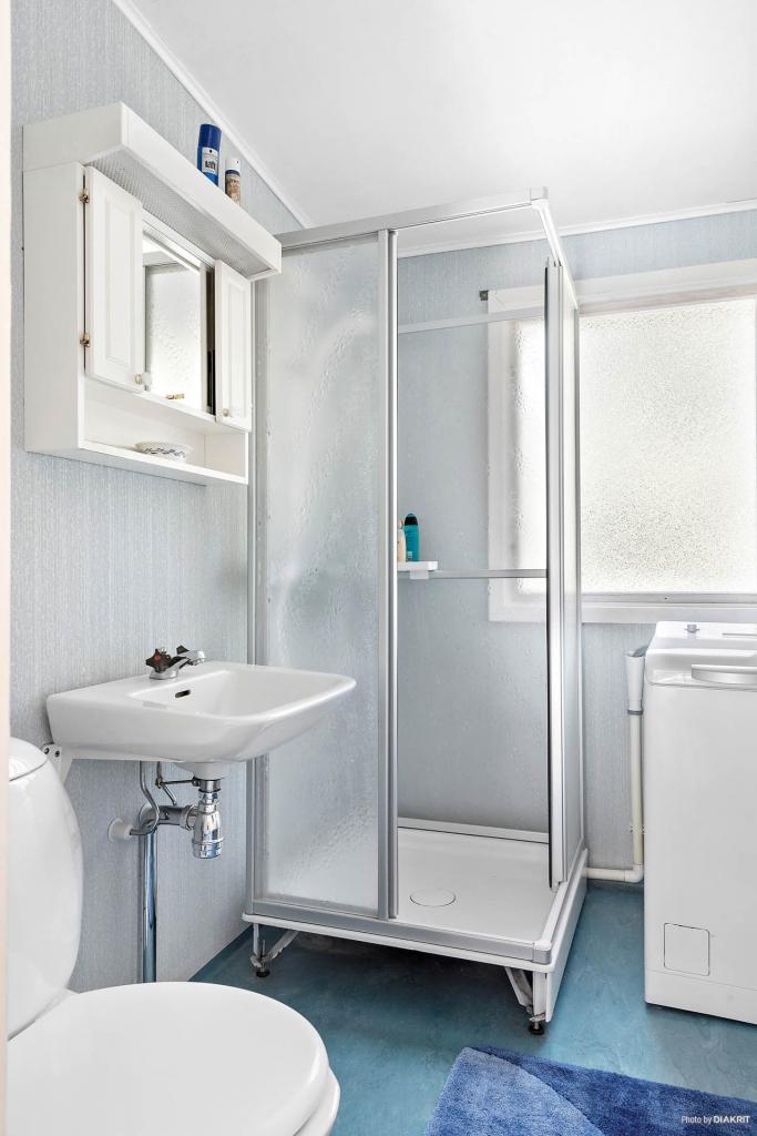 Toalett, dusch och tvättmaskin.