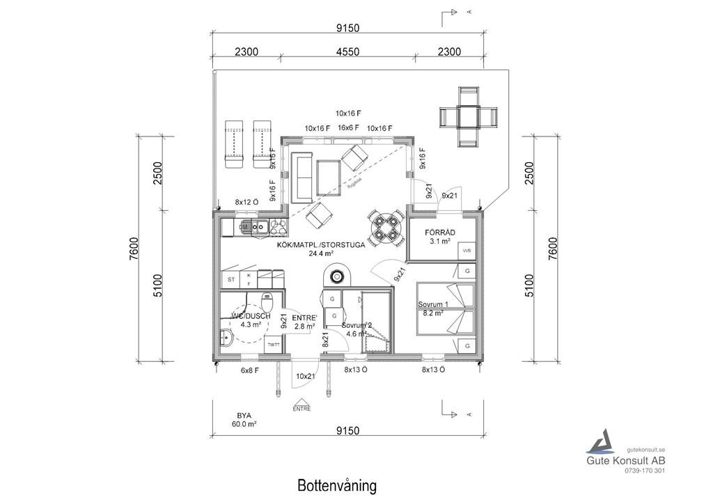 Planlösning spegelvänt hus
