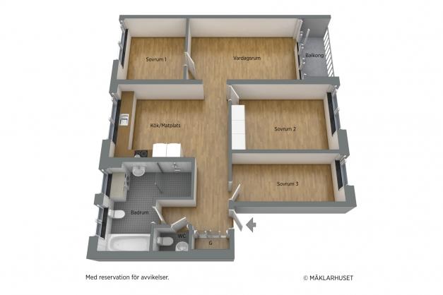 Omöblerad 3D-planritning