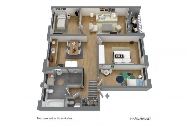 Möblerad 3D-planritning