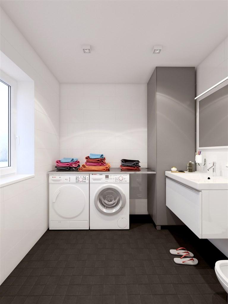 Badrum entréplan med tvättmaskin och torktumlare