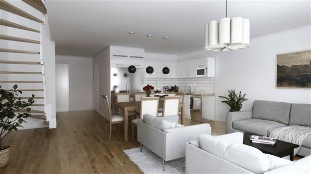 Öppet mellan kök och vardagsrum i entréplan