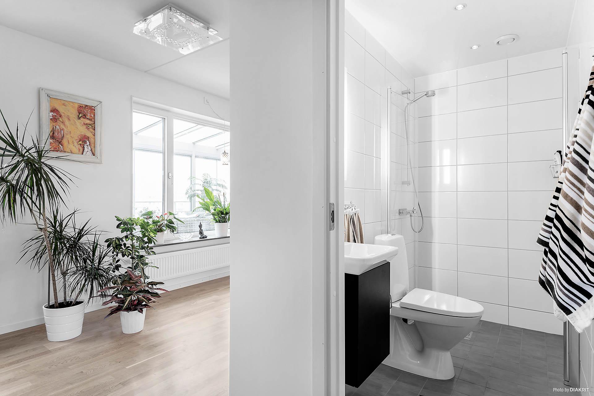 Lägenhetens ena badrum