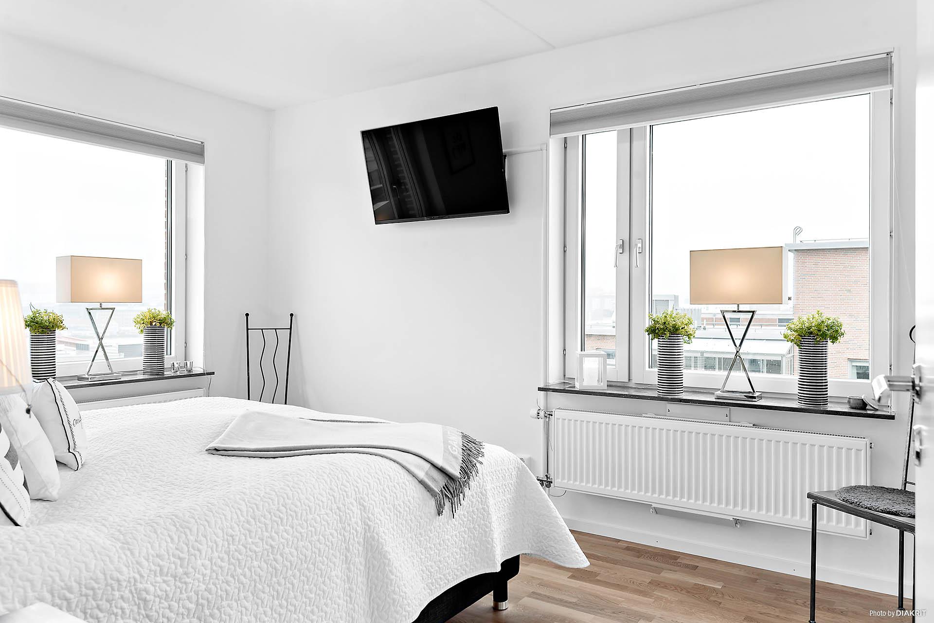 Master bedroom med en underbar utsikt mot centrala Göteborg