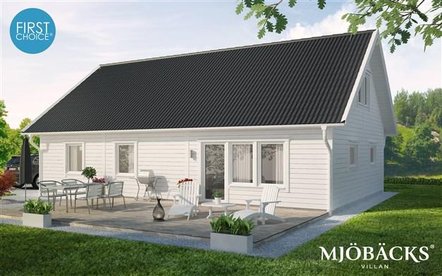 """Husmodellen """"First choice"""" från Mjöbäcksvillan är ett förslag på husmodell som hade passat på tomten. För mer info om förslaget, kontakta Niklas Johansson på Mjöbäcksvillan."""