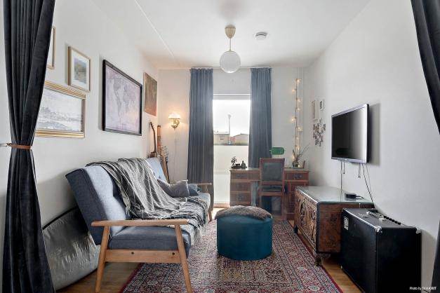 Genom uppförande av en vägg kan detta allrum bli ett fjärde sovrum.
