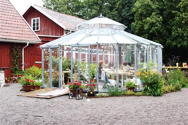Växthuset är trivsamt både soliga dagar samt när hösten smyger sig på, här finns nämligen en eldningsbar braskamin