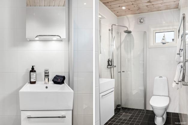 Helkaklat badrum med elgolvvärme.