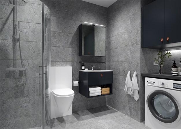 Badrummen i hotellsviterna har även kombinerad tvättmaskin och torktumlare.