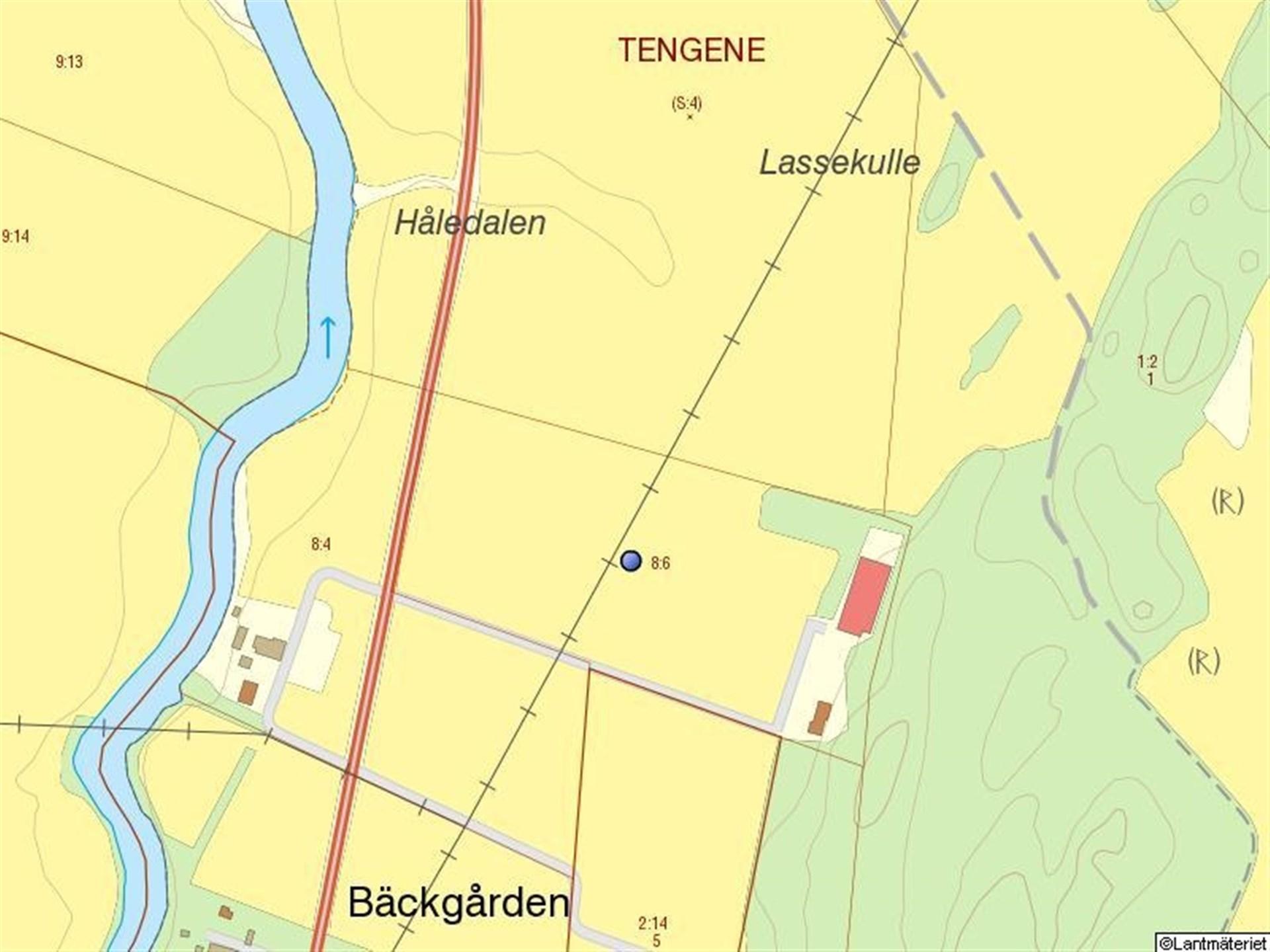 Fastighetskarta - fastigheten markerad med blå punkt