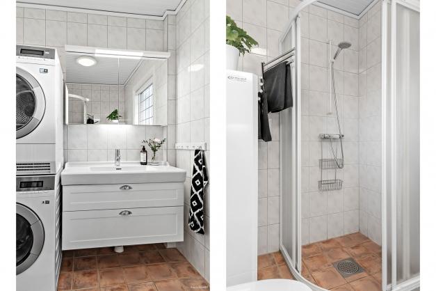 Helkaklat badrum med även tvättmaskin och torktumlare