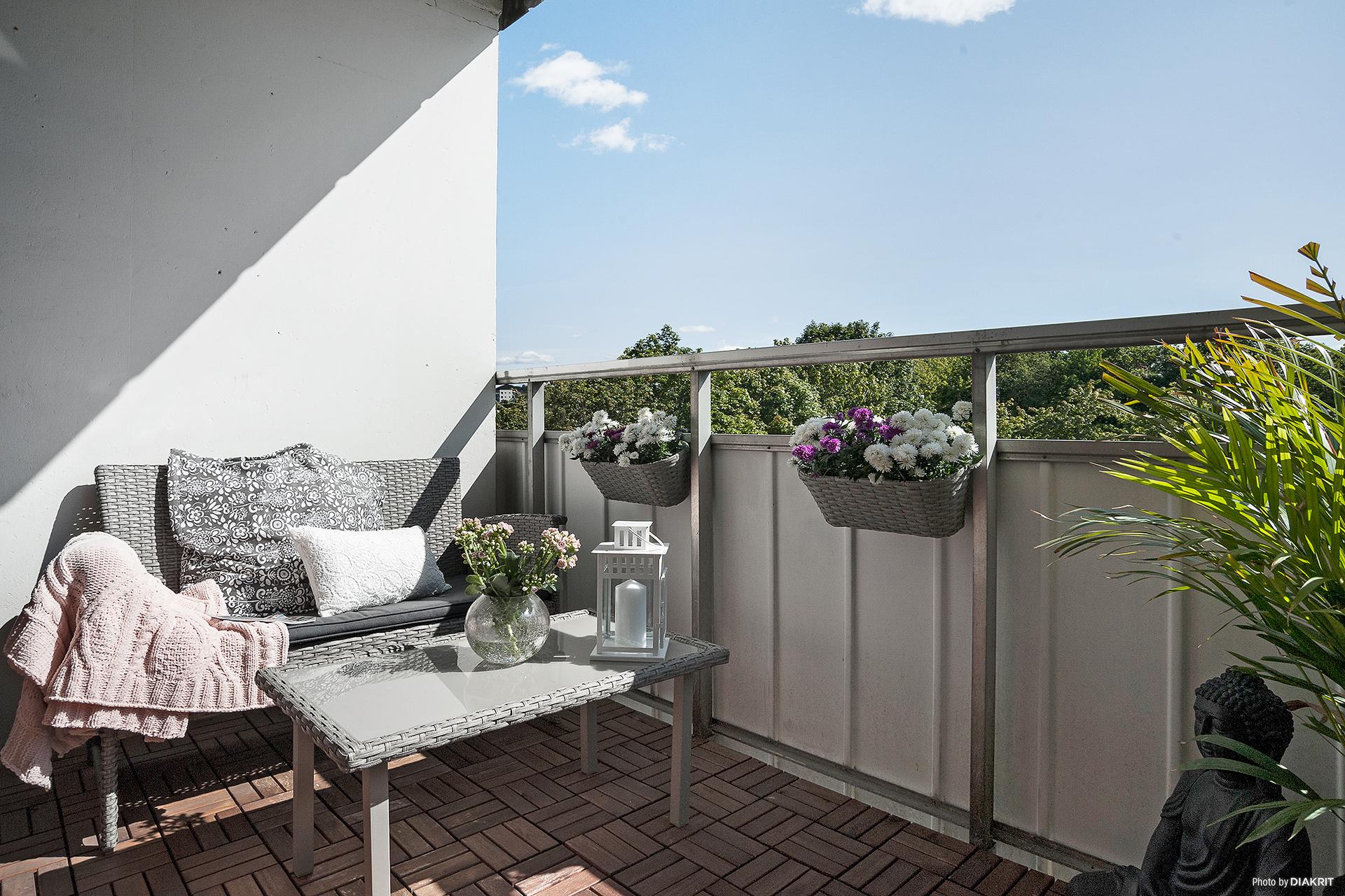 En fantastisk balkong i soligt läge.