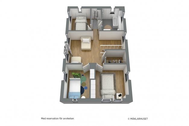 Exempel på ovanvåningens planlösning, idag är ovanvåningen oinredd