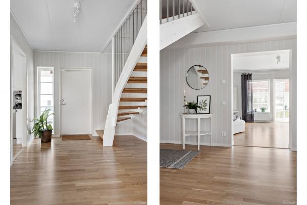 Hallen är navet i huset, alla rummen grenar sig från hallen. Trappan till ovanvåningen ligger även här. Idag är ovanvåningen oinredd och där finns stora möjligheter
