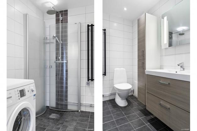 Smakfullt renoverat badrum med spotlights