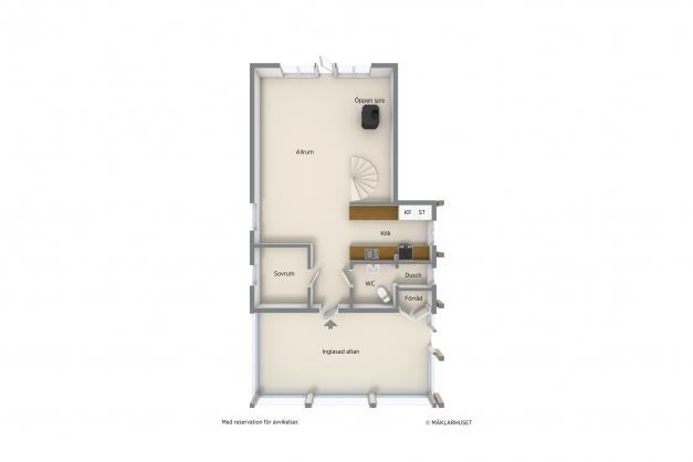 Planlösning över entrévåning. Övervåning finns med liten hall, två sovrum och stor balkong.