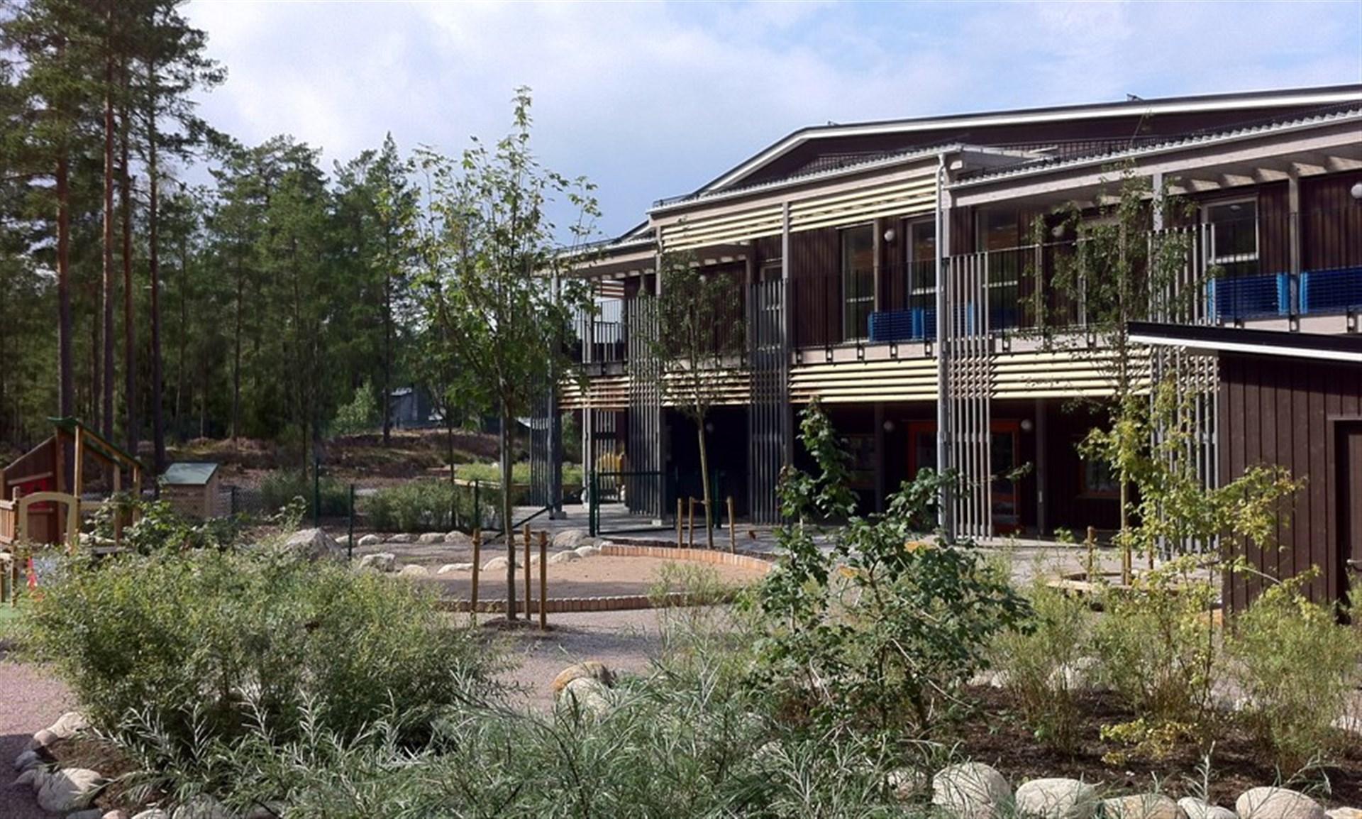 Sagoskogen, en ny fin förskola i området.