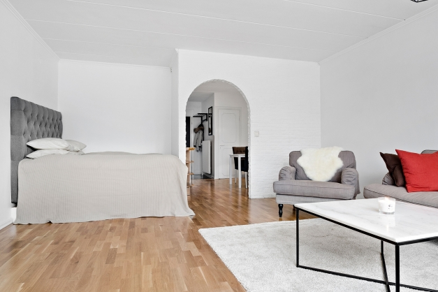 Stort vardagsrum med sovalkov