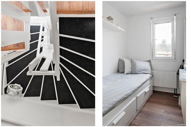 Nymålad mattbelagd trapp samt sovrum 4/ klädkammare