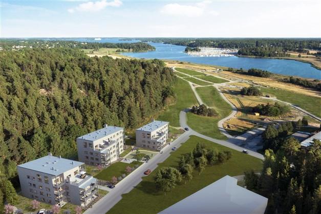 Illustrationsbild Vybild över Täljö strandäng och husens placering med utsikt mot Täljöviken.