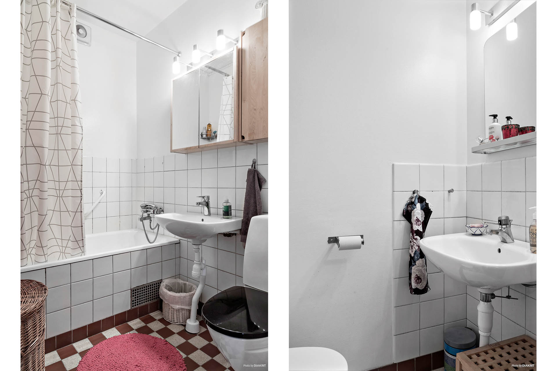 Badrummet är delvis kaklat.
