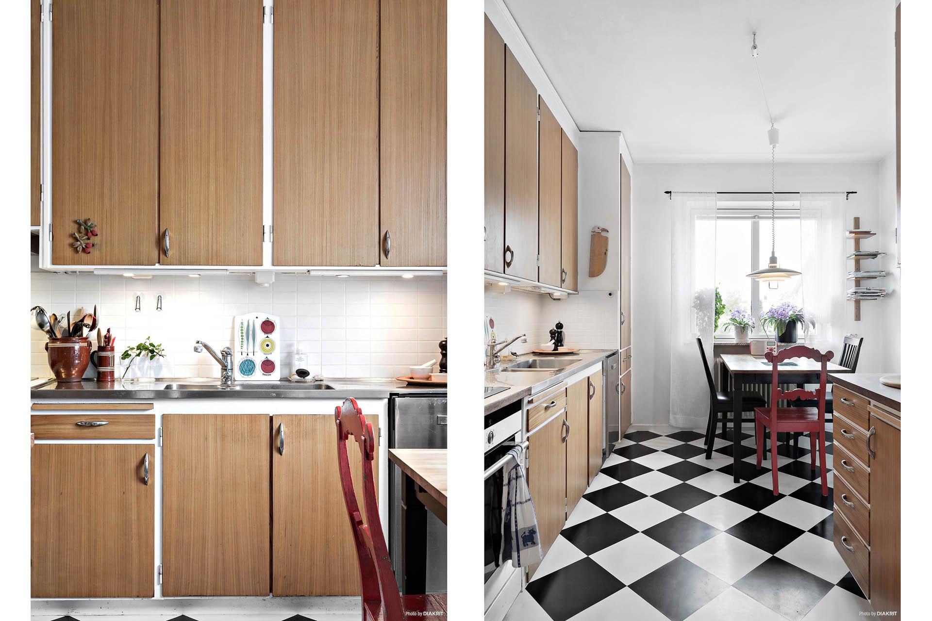 Tilltalande linoleumgolv ger extra liv till köket.